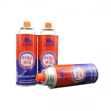 Empty butane gas cartridge and camping gas butane canister refill for camping stove