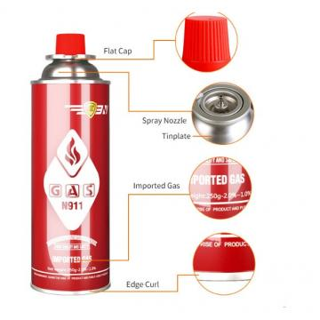 Eco-friendly Camping Butane Gas Refill for Portable Stove, Butane Gas Canister for BBQ Gas Grill